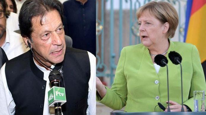 German Chancellor Angela Merkel felicitates PM Imran Khan