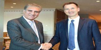 FM Qureshi meets his Britain counterpart, discuss bilateral ties