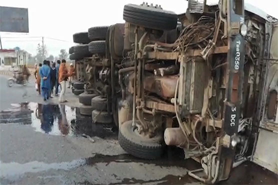 Three killed as truck overturns on motorcycle in Sahiwal