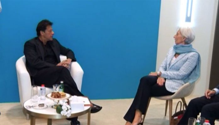 PM Imran meets IMF chief for talks on bailout in Dubai