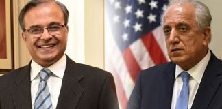 Pakistani ambassador Asad Majeed meets US diplomat Zalmay Khalilzad