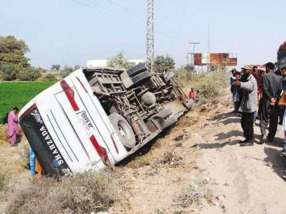 10 die as passenger coach overturns in Badin