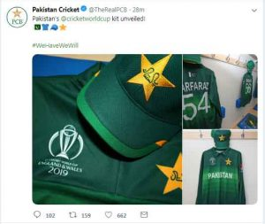PCB unveils Pakistan World Cup 2019 kit