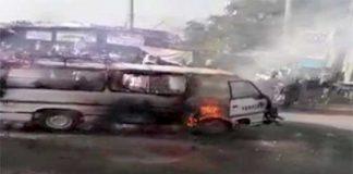 Two children killed, nine injured as van catches fire in Okara