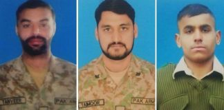 Three Pakistani soldiers martyred in Indian forces firing along LoC
