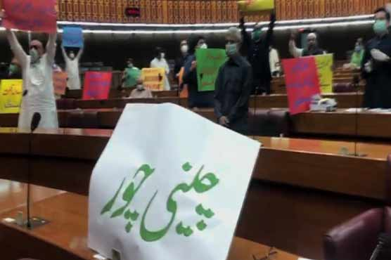 Opposition protests during Budget 2020-21 speech